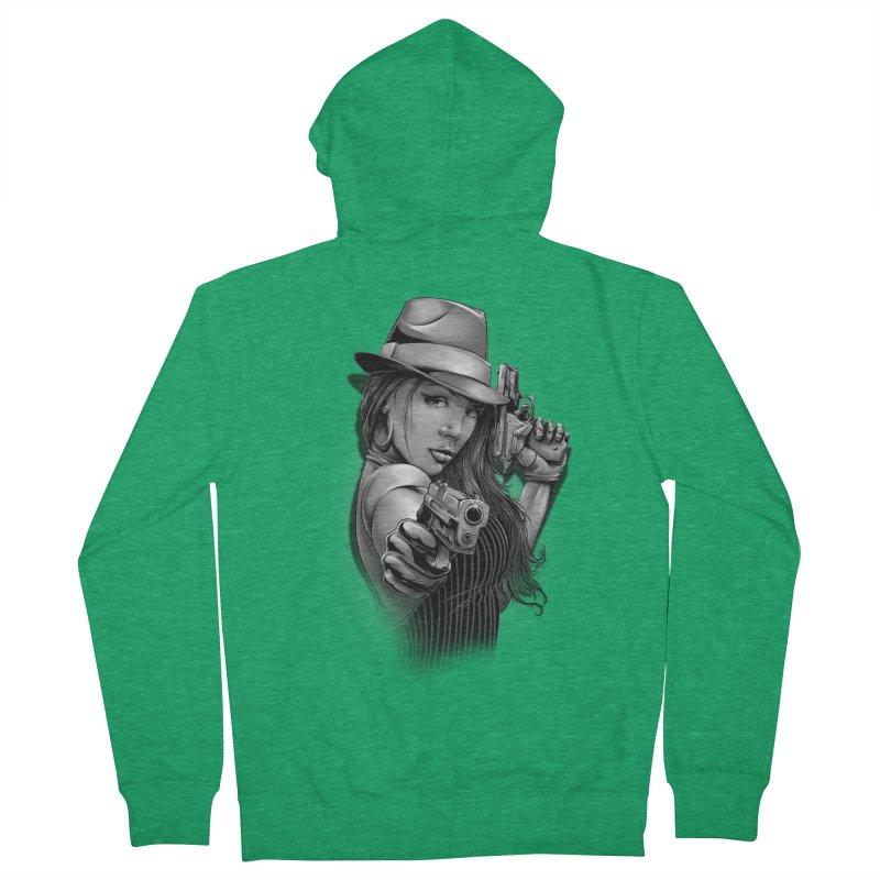 girl with gun Men's Zip-Up Hoody by fishark's Artist Shop