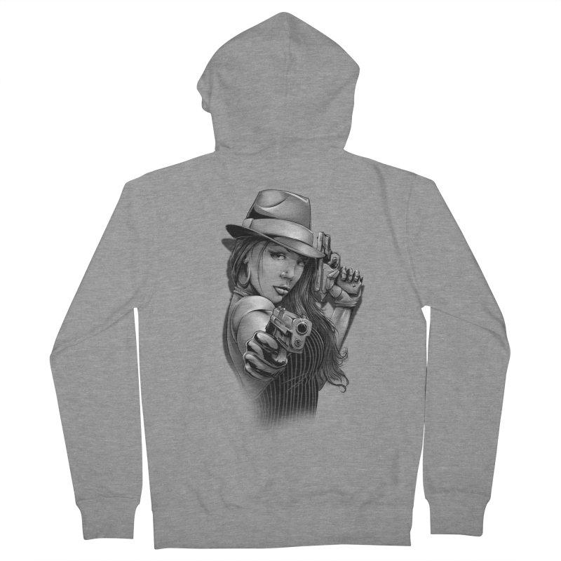 girl with gun Men's French Terry Zip-Up Hoody by fishark's Artist Shop