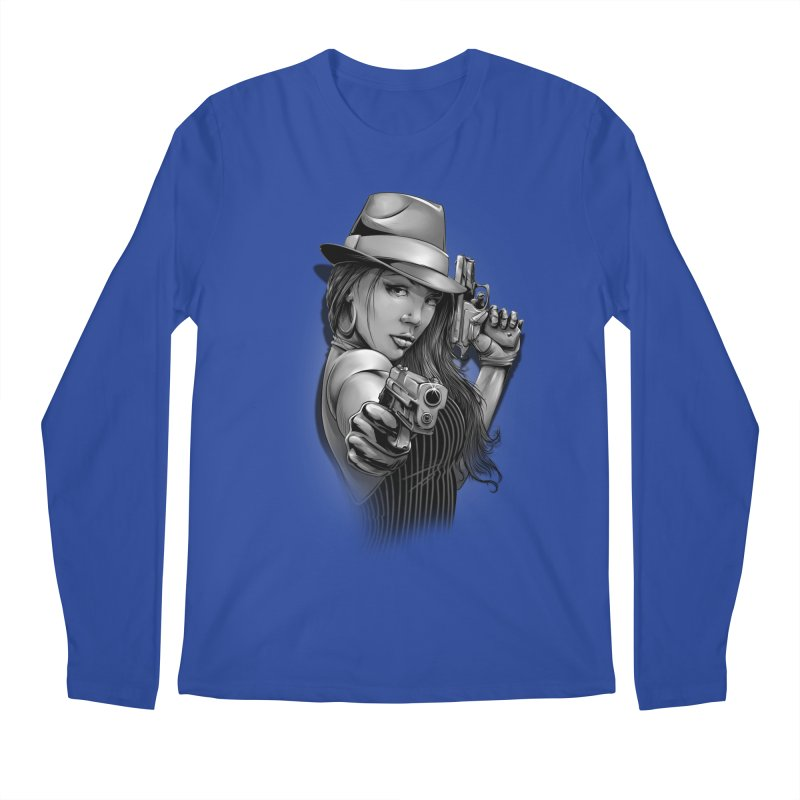 girl with gun Men's Regular Longsleeve T-Shirt by fishark's Artist Shop