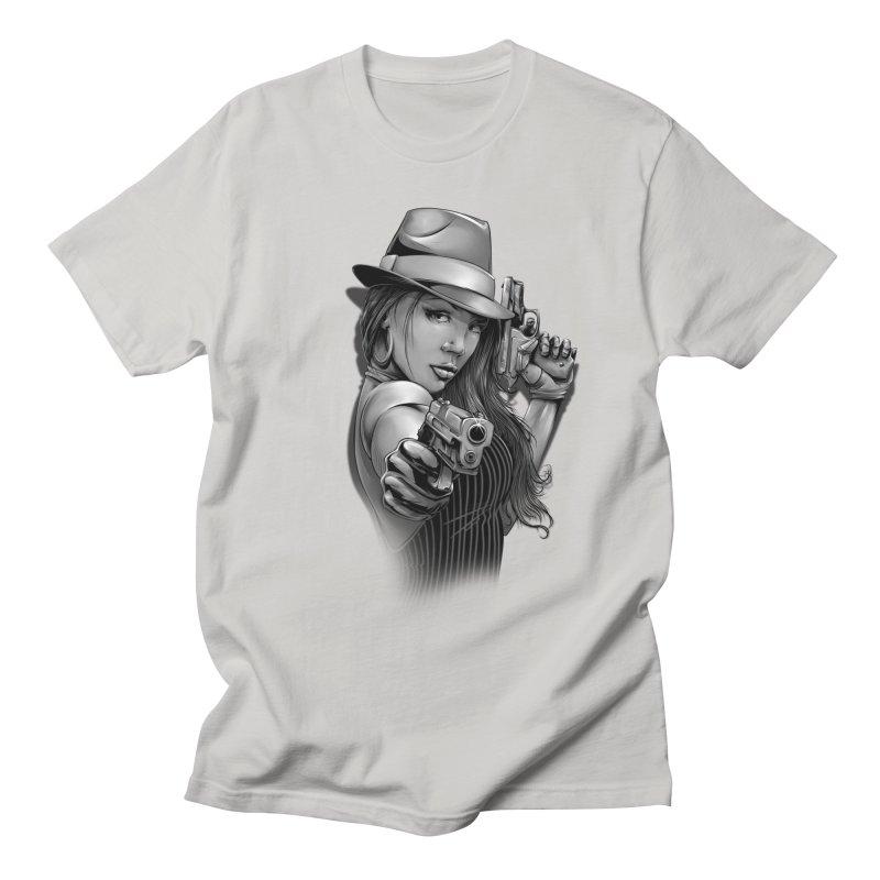 girl with gun Women's Regular Unisex T-Shirt by fishark's Artist Shop