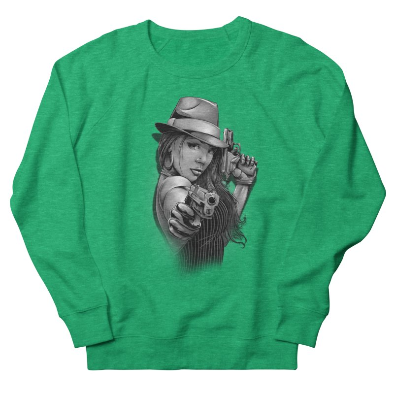 girl with gun Women's French Terry Sweatshirt by fishark's Artist Shop