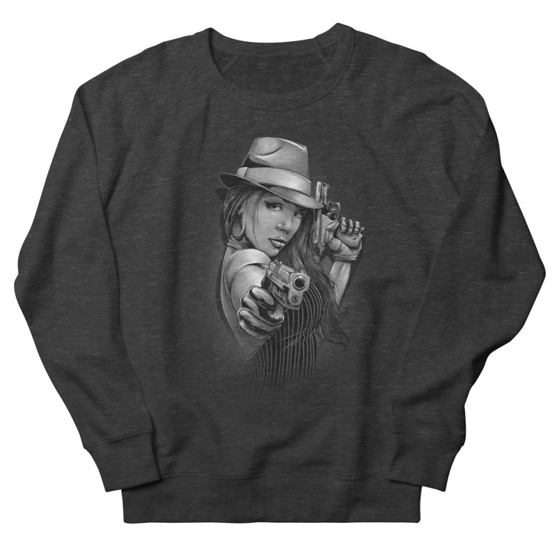 girl with gun Men's French Terry Sweatshirt by fishark's Artist Shop