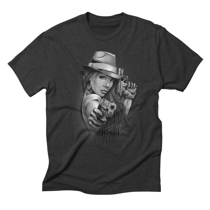 girl with gun Men's Triblend T-Shirt by fishark's Artist Shop