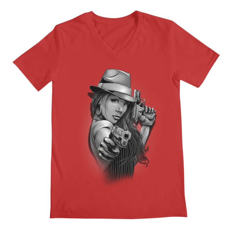 girl with gun Men's Regular V-Neck by fishark's Artist Shop