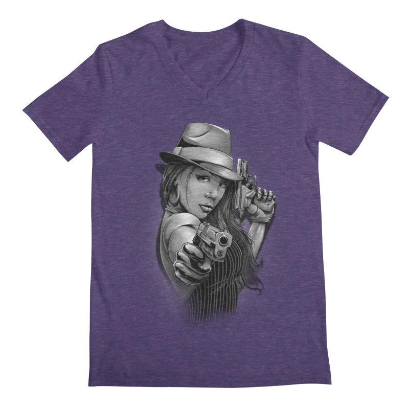 girl with gun Men's Regular V-Neck by fishark's Artist Shop