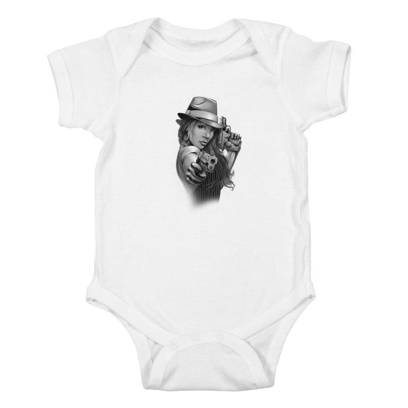 girl with gun Kids Baby Bodysuit by fishark's Artist Shop