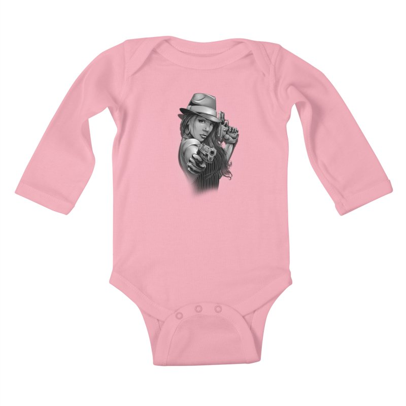 girl with gun Kids Baby Longsleeve Bodysuit by fishark's Artist Shop