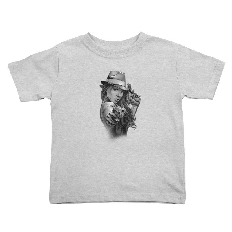 girl with gun Kids Toddler T-Shirt by fishark's Artist Shop