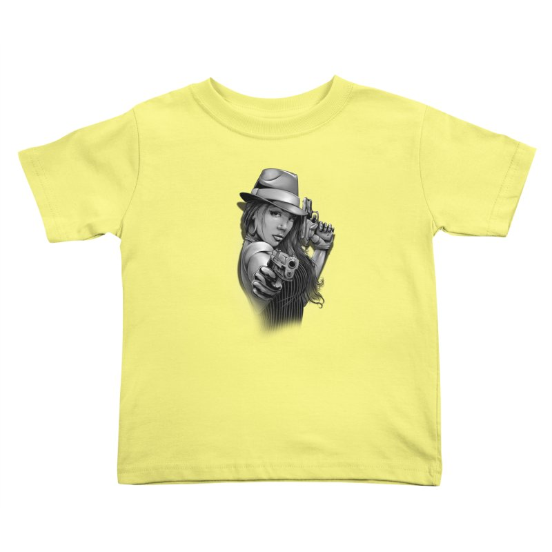 girl with gun Kids Toddler T-Shirt by fishark's Artist Shop