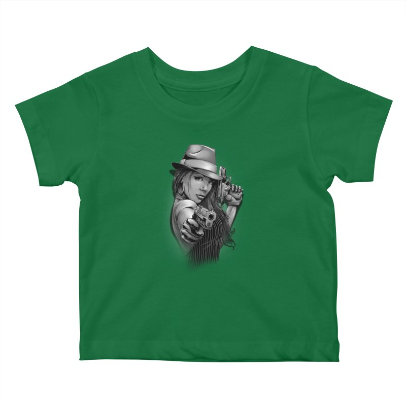 girl with gun Kids Baby T-Shirt by fishark's Artist Shop