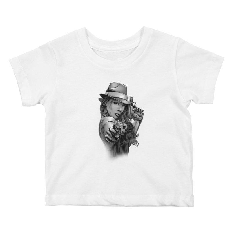 girl with gun Kids Baby T-Shirt by fishark's Artist Shop