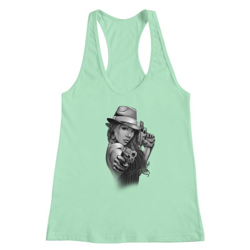 girl with gun Women's Racerback Tank by fishark's Artist Shop