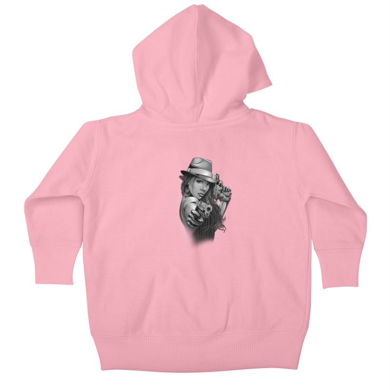 girl with gun Kids Baby Zip-Up Hoody by fishark's Artist Shop
