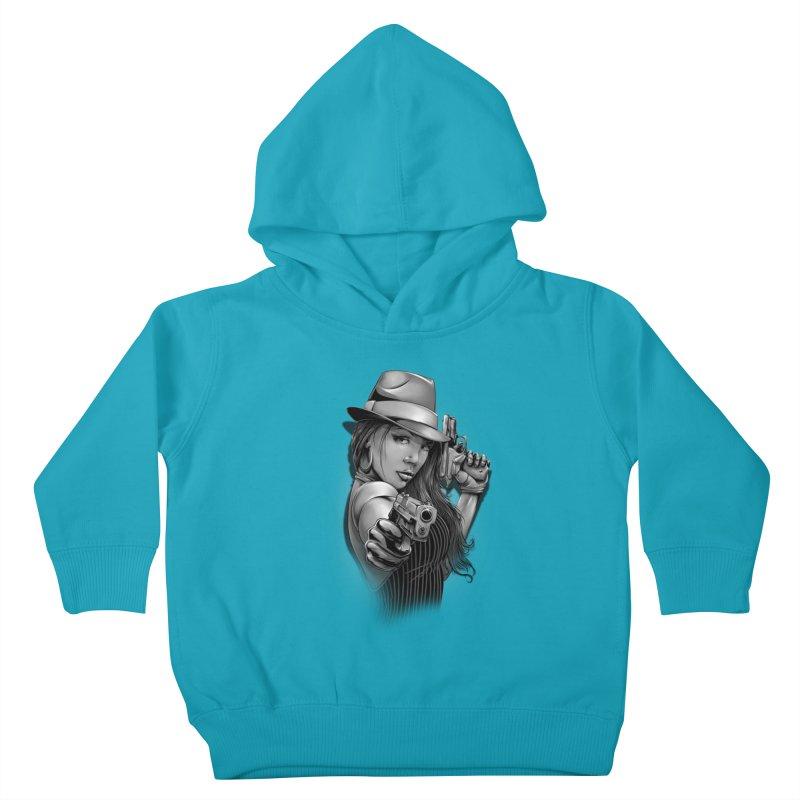 girl with gun Kids Toddler Pullover Hoody by fishark's Artist Shop