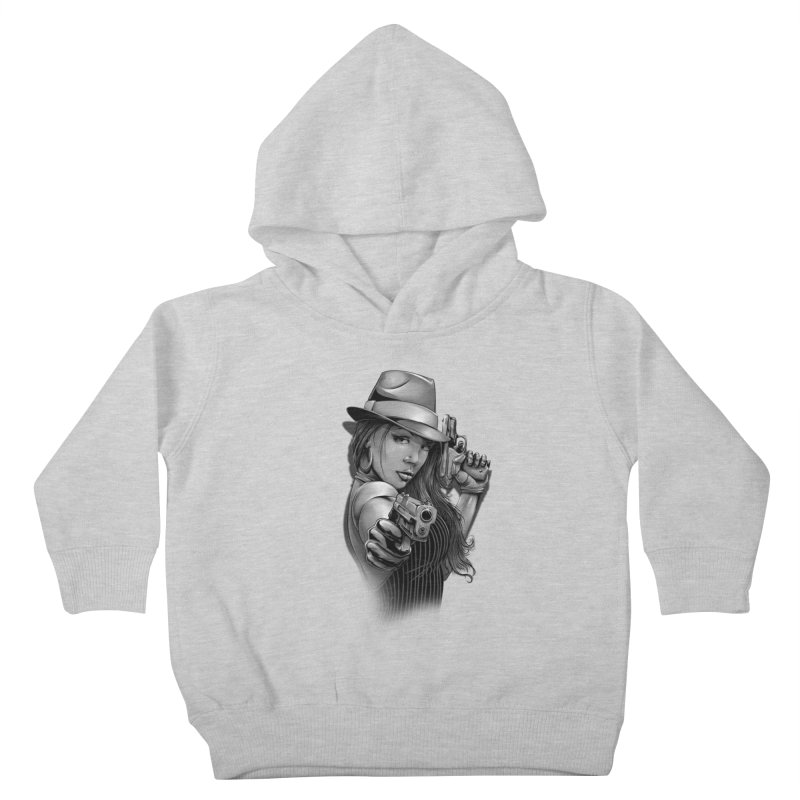 girl with gun Kids Toddler Pullover Hoody by fishark's Artist Shop
