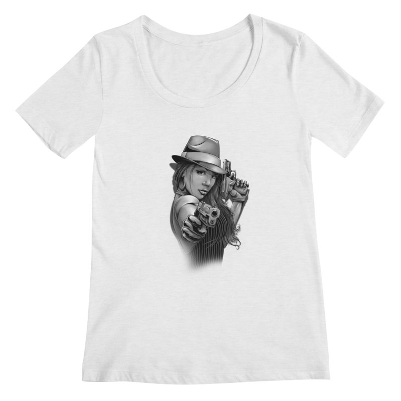 girl with gun Women's Regular Scoop Neck by fishark's Artist Shop