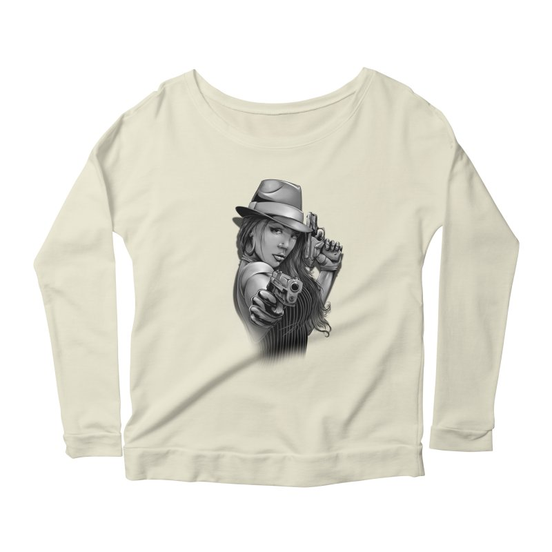 girl with gun Women's Scoop Neck Longsleeve T-Shirt by fishark's Artist Shop