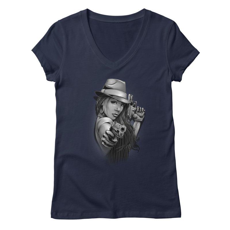 girl with gun Women's Regular V-Neck by fishark's Artist Shop
