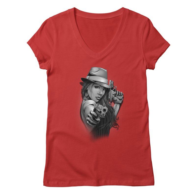 girl with gun Women's Regular V-Neck by fishark's Artist Shop