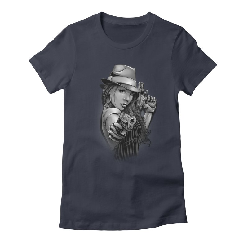 girl with gun Women's Fitted T-Shirt by fishark's Artist Shop