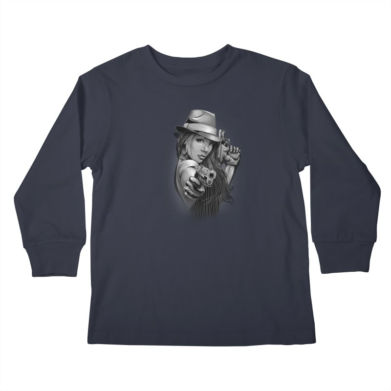 girl with gun Kids Longsleeve T-Shirt by fishark's Artist Shop