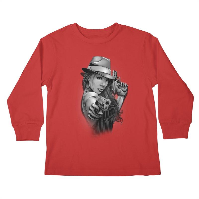 girl with gun Kids Longsleeve T-Shirt by fishark's Artist Shop