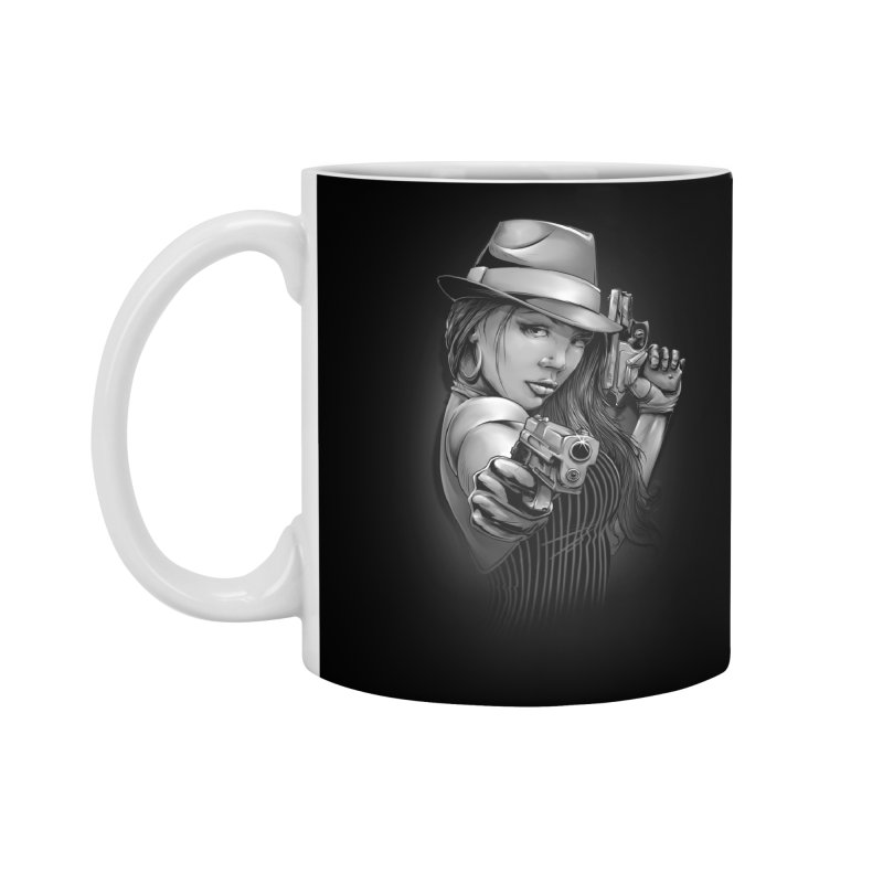 girl with gun Accessories Mug by fishark's Artist Shop