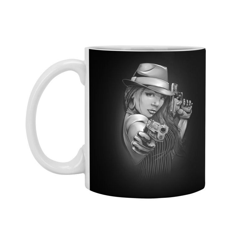 girl with gun Accessories Standard Mug by fishark's Artist Shop