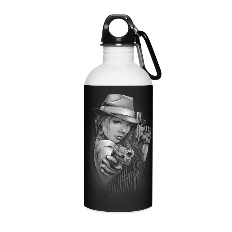 girl with gun Accessories Water Bottle by fishark's Artist Shop