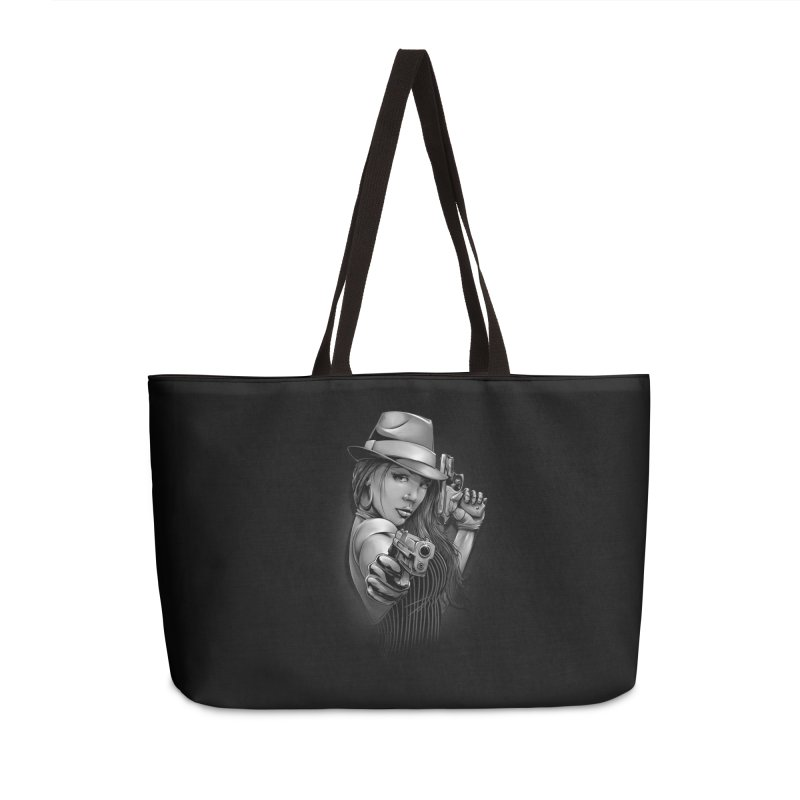 girl with gun Accessories Weekender Bag Bag by fishark's Artist Shop