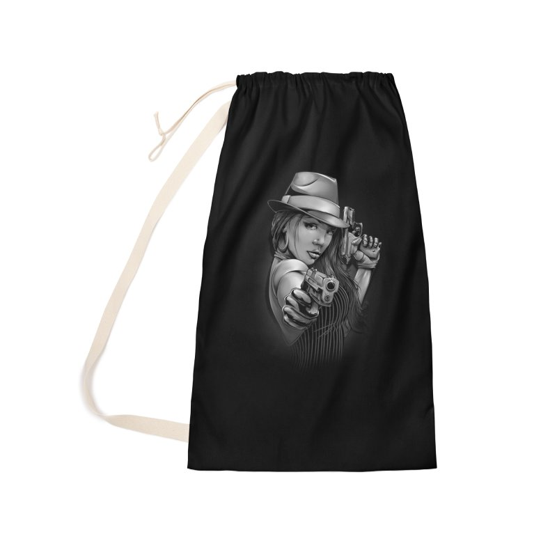 girl with gun Accessories Laundry Bag Bag by fishark's Artist Shop