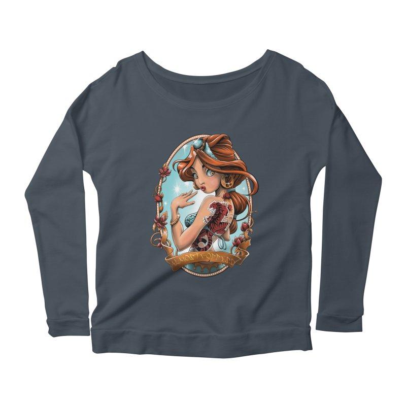 girl Women's Scoop Neck Longsleeve T-Shirt by fishark's Artist Shop