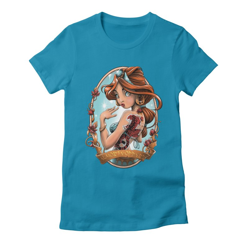 girl Women's Fitted T-Shirt by fishark's Artist Shop
