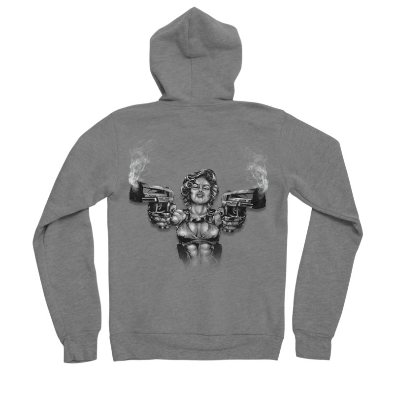 Monroe with guns Men's Sponge Fleece Zip-Up Hoody by fishark's Artist Shop
