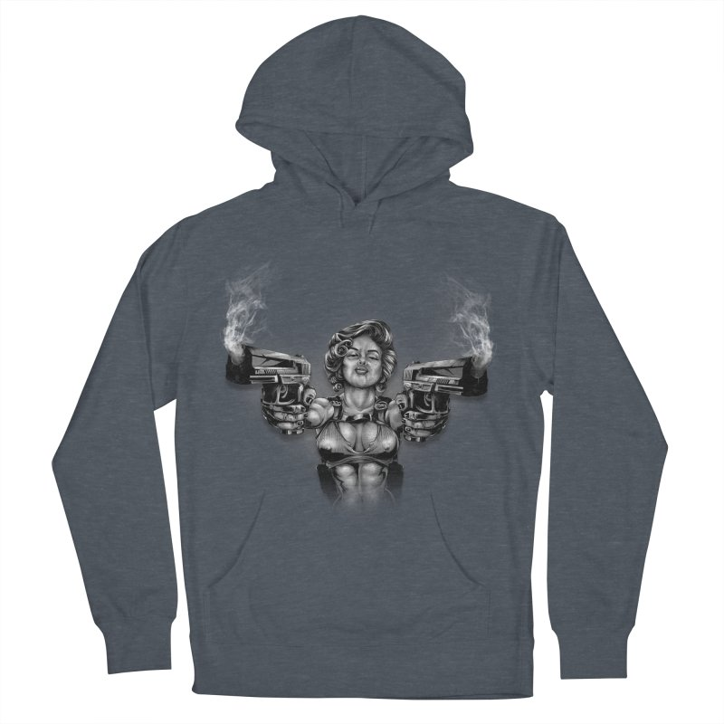 Monroe with guns Men's French Terry Pullover Hoody by fishark's Artist Shop