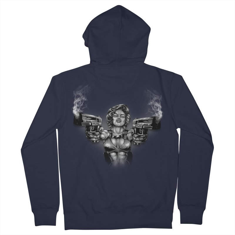 Monroe with guns Women's French Terry Zip-Up Hoody by fishark's Artist Shop
