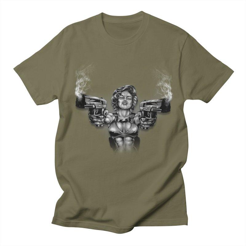 Monroe with guns Men's Regular T-Shirt by fishark's Artist Shop