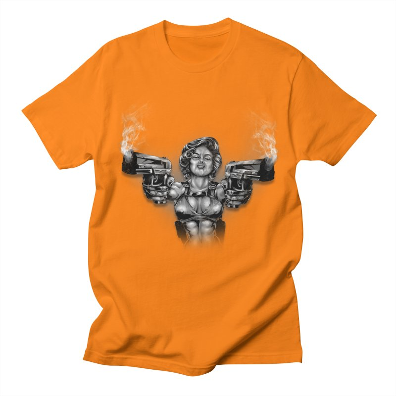 Monroe with guns Men's Regular T-Shirt by fishark's Artist Shop