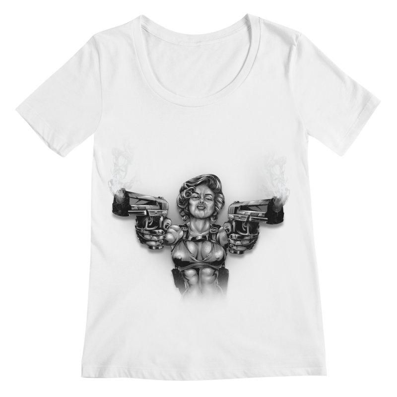 Monroe with guns Women's Regular Scoop Neck by fishark's Artist Shop