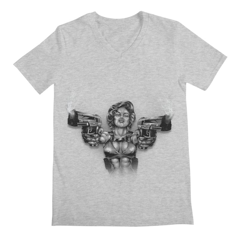 Monroe with guns Men's Regular V-Neck by fishark's Artist Shop