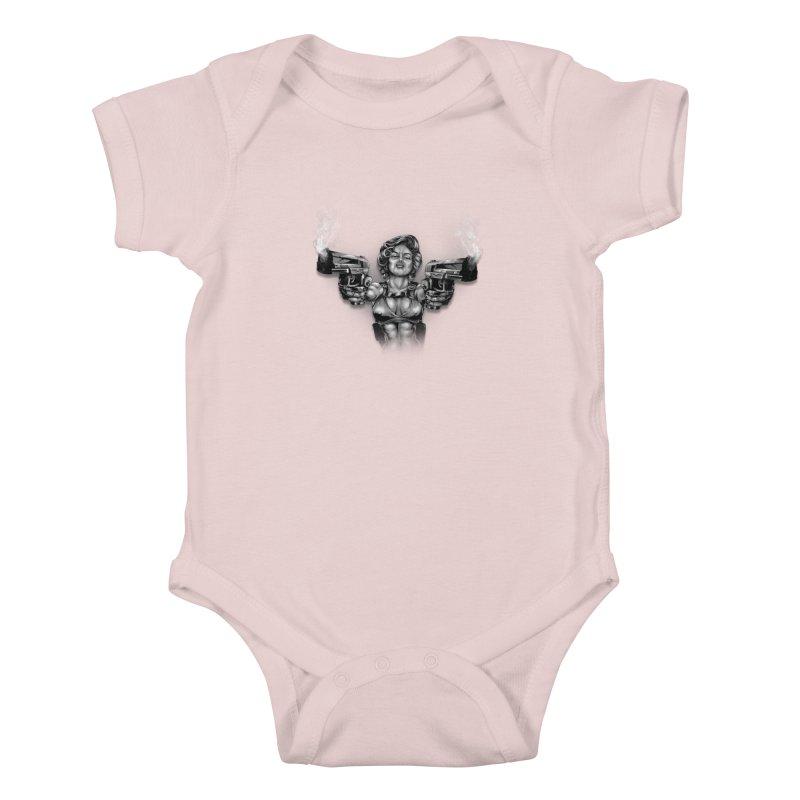 Monroe with guns Kids Baby Bodysuit by fishark's Artist Shop