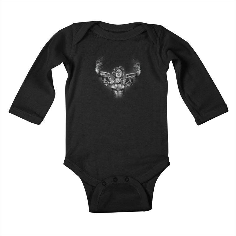 Monroe with guns Kids Baby Longsleeve Bodysuit by fishark's Artist Shop