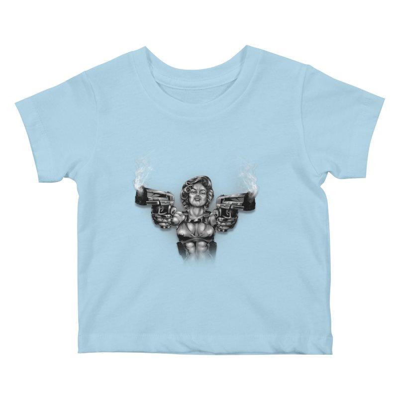 Monroe with guns Kids Baby T-Shirt by fishark's Artist Shop
