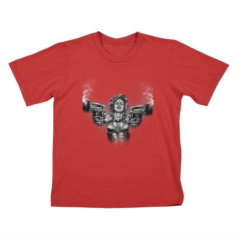 Monroe with guns Kids T-Shirt by fishark's Artist Shop