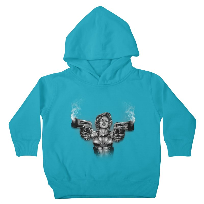 Monroe with guns Kids Toddler Pullover Hoody by fishark's Artist Shop