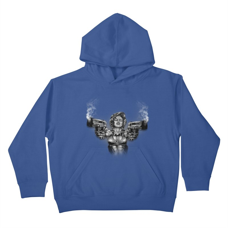 Monroe with guns Kids Pullover Hoody by fishark's Artist Shop