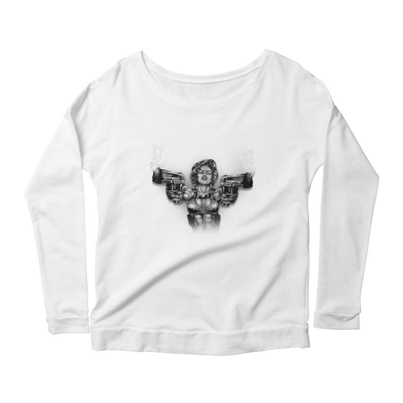 Monroe with guns Women's Scoop Neck Longsleeve T-Shirt by fishark's Artist Shop