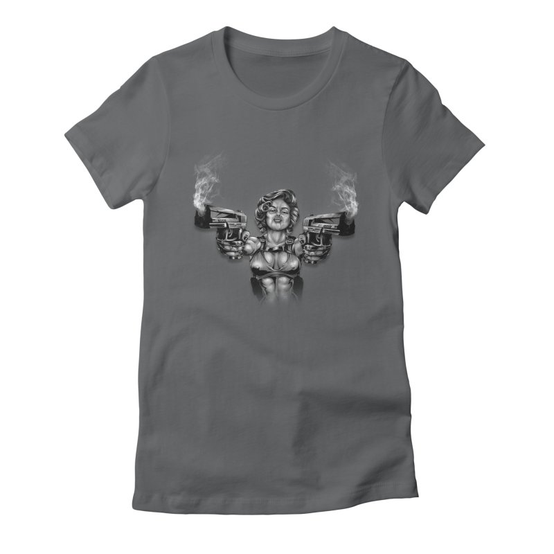Monroe with guns Women's Fitted T-Shirt by fishark's Artist Shop