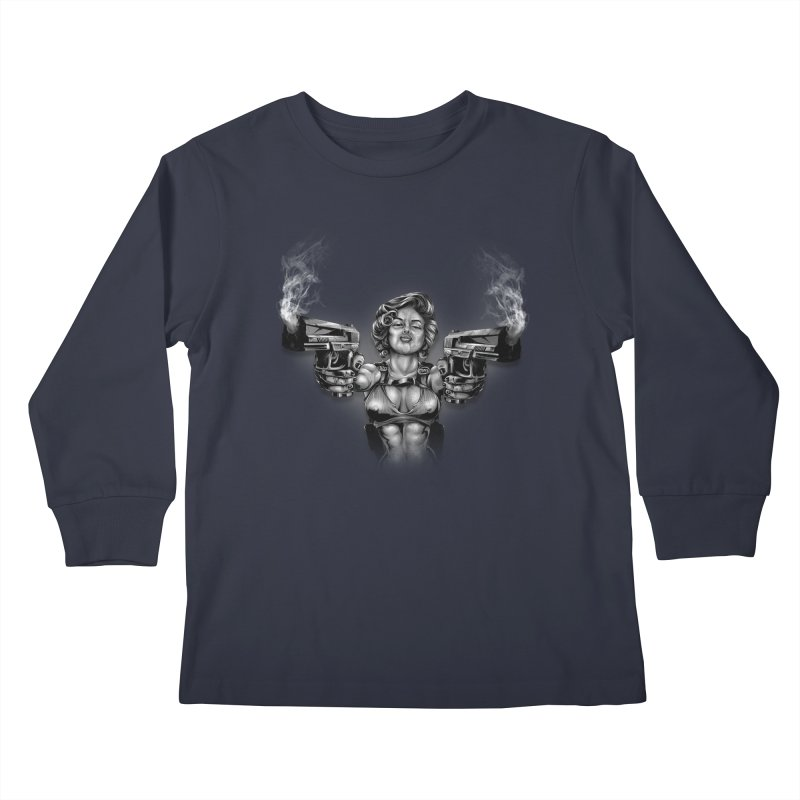 Monroe with guns Kids Longsleeve T-Shirt by fishark's Artist Shop