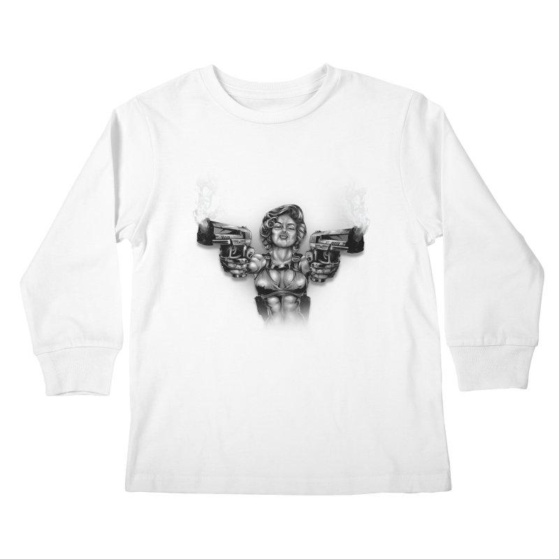 Monroe with guns Kids Longsleeve T-Shirt by fishark's Artist Shop
